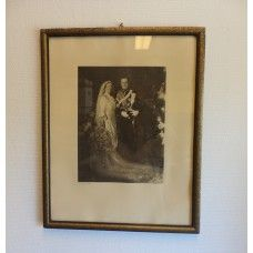 Schilderij trouwfoto prinses Juliana en prins Bernard