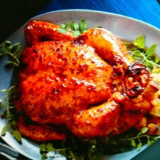 Pollo al horno glaseado con mermelada de Apricot ( durazno o melocotón)