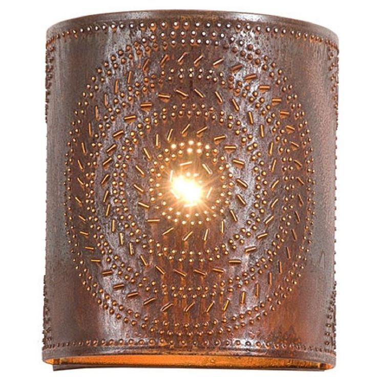 PUNCHED TIN SCONCE LAMP Handcrafted Chisel Pattern Wall Light in Country or Rustic Tin Finish ...
