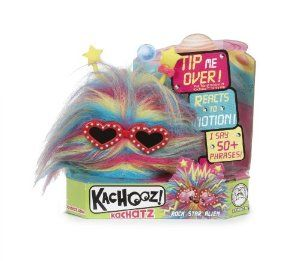 "MGA Kachooz Interactive Alien by MGA Entertainment. $4.89. Exclusive interactive Kachooz. Each one says over 50 phrases. Motion Sensor allows it to react to all types of movement ? upside down, sideways, rolling, falling, shaking. Speaks special language ? ?Kachoozian"". So fuzzy, silly, small, you will want to collect them all. From the Manufacturer Interactive Kachooz are fuzzy creatures that have been separated from their groups (called Moops). These..."