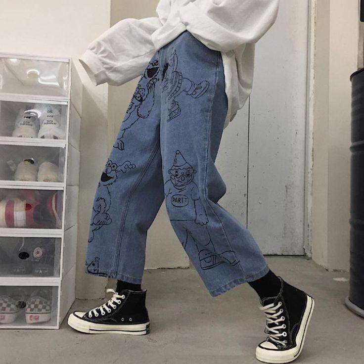 Sesame street cartoon printed blue loose straight jeans