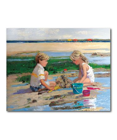 Loving this Sally Swatland Building Sand Castles Gallery-Wrapped Canvas on #zulily! #zulilyfinds