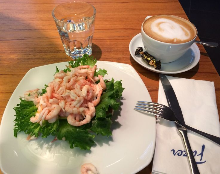 Fazer cafe at Stockmann, shrimps sandwich and cappuccino