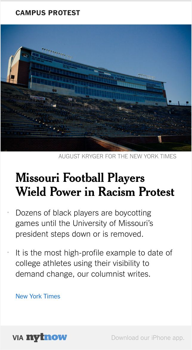 Jasmine Pierson: #Sports#Racism this article is discussing racism in sports and how the football players of University of Missouri are boycotting playing in any games until the schools President steps down. They feel mistreated and discriminated against because of their race and the administration has done little about this problem. In class we discussed how black football players are portrayed and described compared to white foot ball players. (Fitzgeral, 2014) #Chapter12