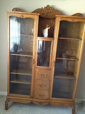 Antique Oak China Buffet Double Secretary Cabinet Very Unique   eBay