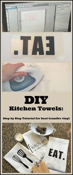 DIY Custom Kitchen Towels Using a Heat Transfer Image | My Life From Home | http://www.mylifefromhome.com | silhouette craft | vinyl crafts | DIY kitchen towels | farmhouse decor | DIY farmhouse decor | towel craft | heat transfer craft