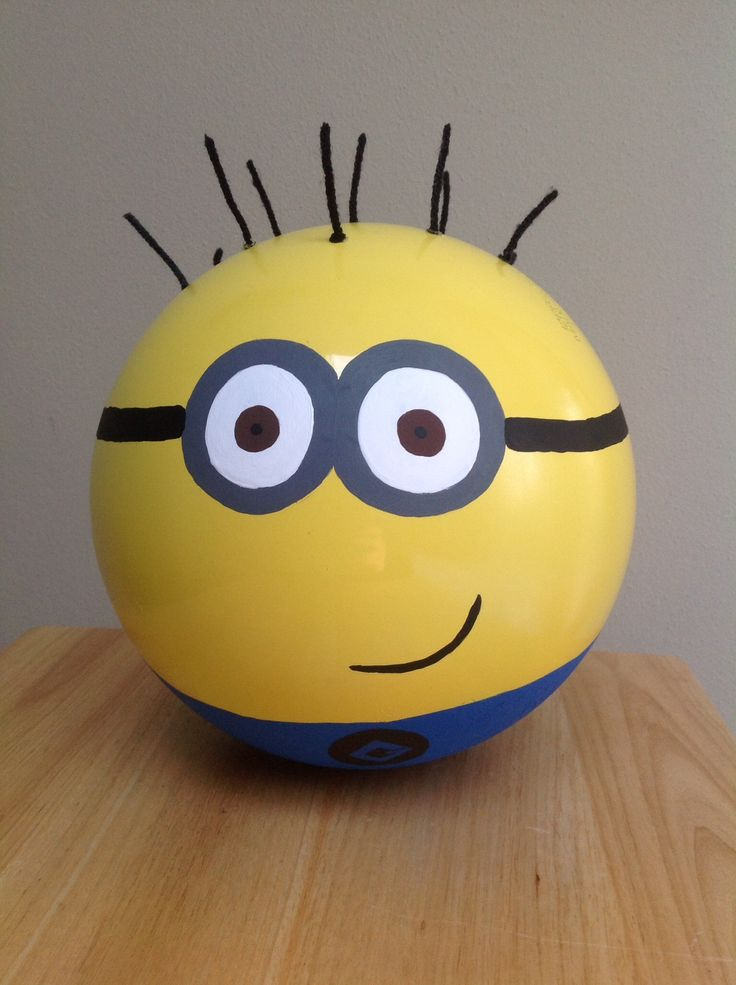 Minion from Despicable Me, made from an old bowling ball