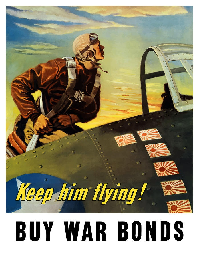 Keep Him Flying Buy War Bonds  Painting  - Keep Him Flying Buy War Bonds  Fine Art PrintVintage Posters, Propaganda Posters, Picture-Black Posters, Wars Posters, Wwii Propaganda, Wwii Posters, Warbond, Buy Wars, Wars Bond