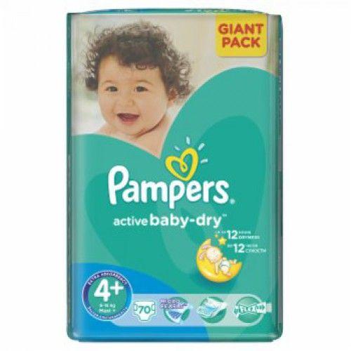Pampers 4+ Active Baby-Dry, 70 ks  Plenky Pampers pro miminko levně! Doprava zdarma při objednání nad 1000 Kč!   https://babyplenky.cz/