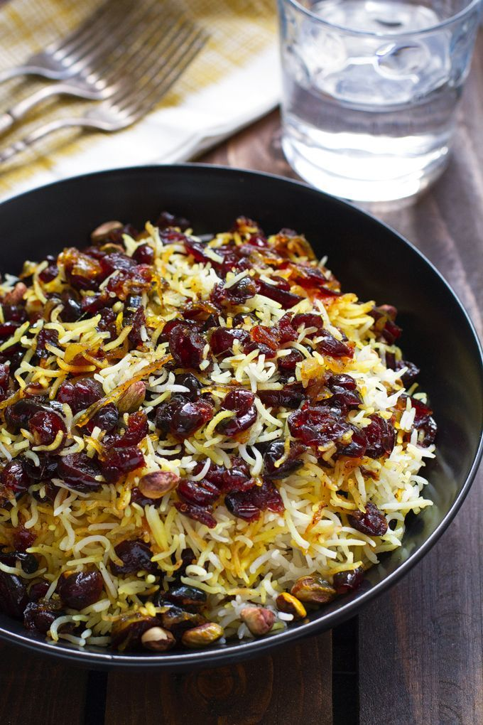 Fragrant Persian cranberry rice pilaf with saffron. Sweet cranberry rice pilaf made with basmati rice, cranberries, and saffron.