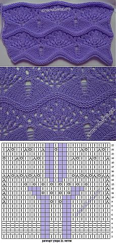 узор 371 волнистый узор | каталог вязаных спицами узоров