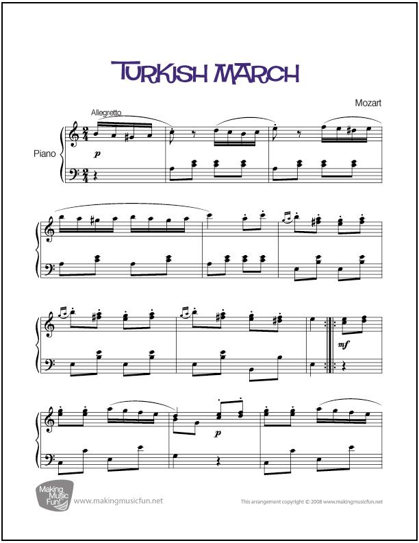 Turkish March (Mozart) | Sheet Music for Piano (Digital Print) http://makingmusicfun.net/htm/f_printit_free_printable_sheet_music/turkish-march-piano-solo.htm