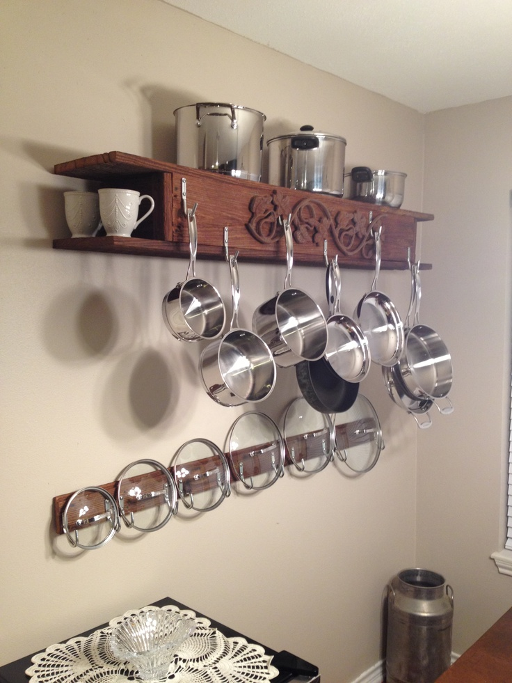 Homemade Pots And Pans Display Rack! Made From Reclaimed Wood And Small  Stainless Steel Hooks