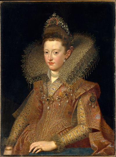 Поурбус, Франс младший (1569 — 1622) - Margherita Gonzaga (1591–1632), Princess of Mantua (Metropolitan Museum of Art, New York City ) Маргарита Гонзаго была старшей дочерью Винченцо I Гонзага, герцога Мантуи, и  Элеоноры де Медичи. В 1606 году она вышла замуж за Анри Лотарингского, герцога де Бар.