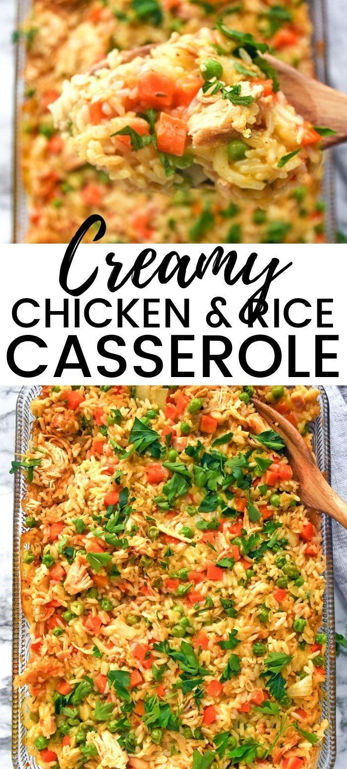 Creamy Chicken And Rice Casserole Recipe Recipe Creamy Chicken And Rice Chicken Rice Casserole Shredded Chicken Recipes