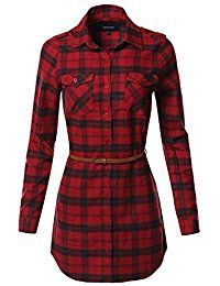 New Awesome21 Women's Adjustable Sleeve Button Down Flannel Tunic Shirts With Belt online. Find the perfect Meaneor Tops-Tees from top store. Sku ZXVY88860DOQD64159
