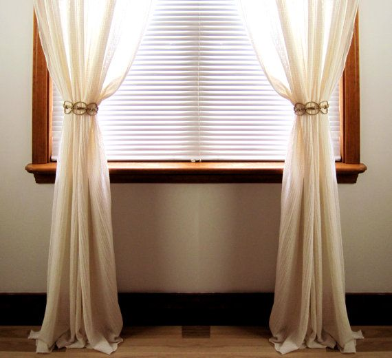 Handmade Natural Hemp Adjustable Curtain By HTArtcraftAndVintage