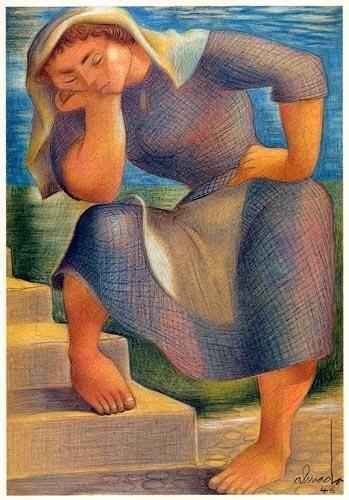 Desenho de Almada Negreiros, «Mulher», 1946.