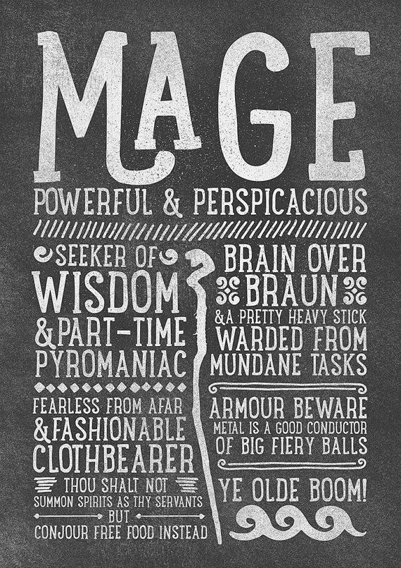 World of Warcraft / Roleplaying Medieval / Fantasy Inspired Type Print - MAGE Edition