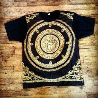 Jacket: versace, jumper, black, hoodie, versace hoodie, versacejumper, blackversacejumper, blackversacehoodie, gold writing - Wheretoget