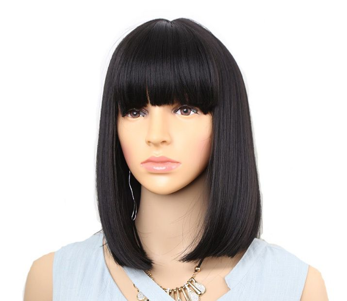 Black synthetic bob wig with bangs Cleopatra style ) wigs
