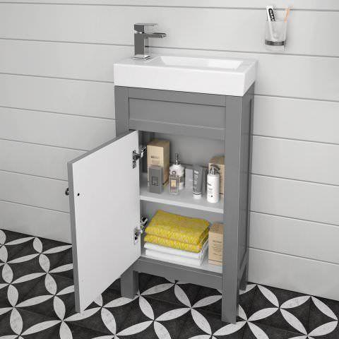 440mm Melbourne Earl Grey Cloakroom Vanity Unit - Floor Standing