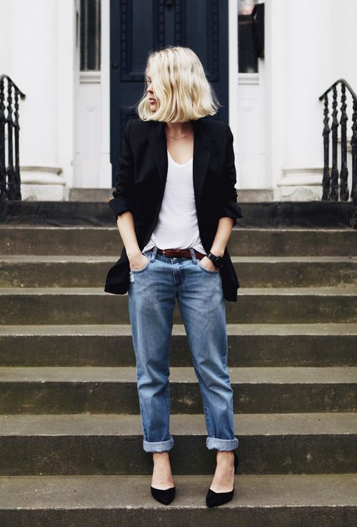 Boyfriend jeans + white top + black jacket -- I love this, its effortlessly chic... and that blazer can be swapped out for a moto jacket anytime