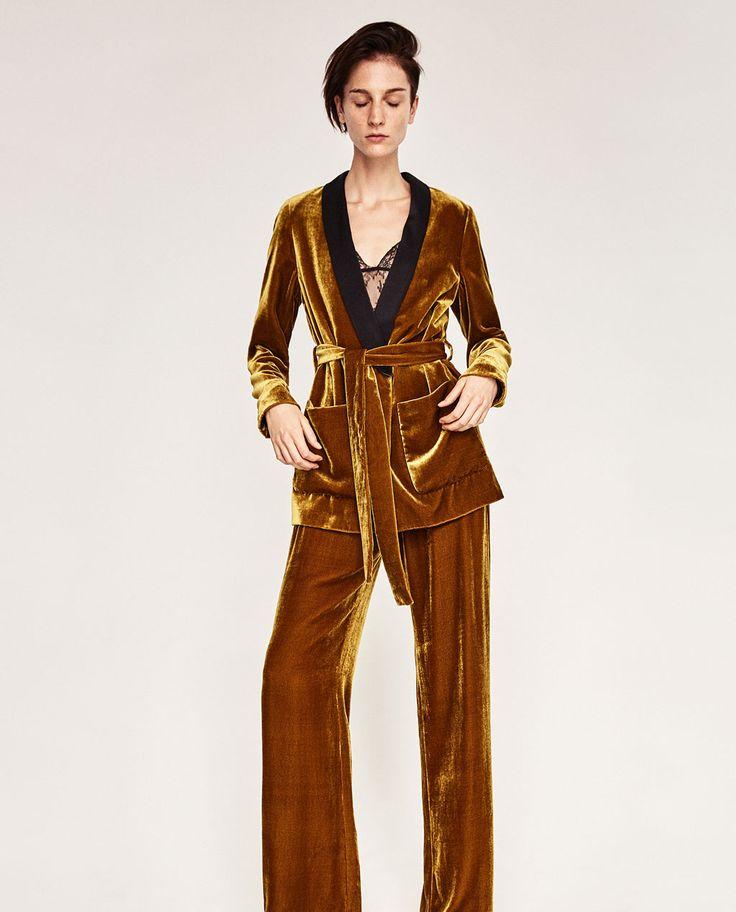 Image 1 of VELVET JACKET WITH BELT from Zara