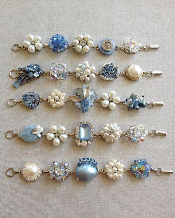 Vintage earring bracelets, light sapphire, blue, bridesmaid bracelets, rustic wedding, bridesmaid gift, set of 5, pearl, set of bracelets