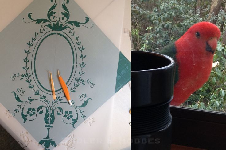 French Baroque Chasuble Front Stencil Update and My Feathered Overlords #catholic #CatholicFollowChain #FSSP #TLM