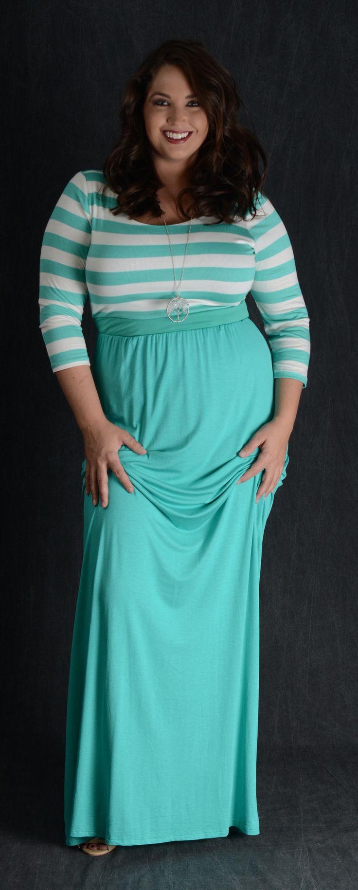 Striped Top Mint Maxi Dress