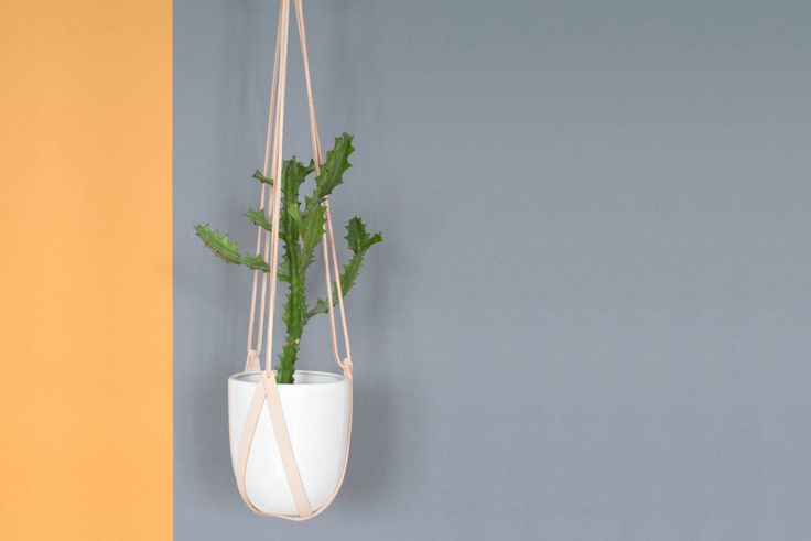 lade 3 natural cream leather hanging planter 3