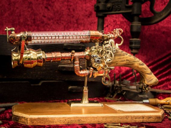 Formally from the collection of the New Victoria and Albert museum, comes the, Cobb Defender. DIY, Gun, steampunk, steampunk gun, coil, wire, metal, punk, steam, rifle, war, electricity, vintage, victorian,