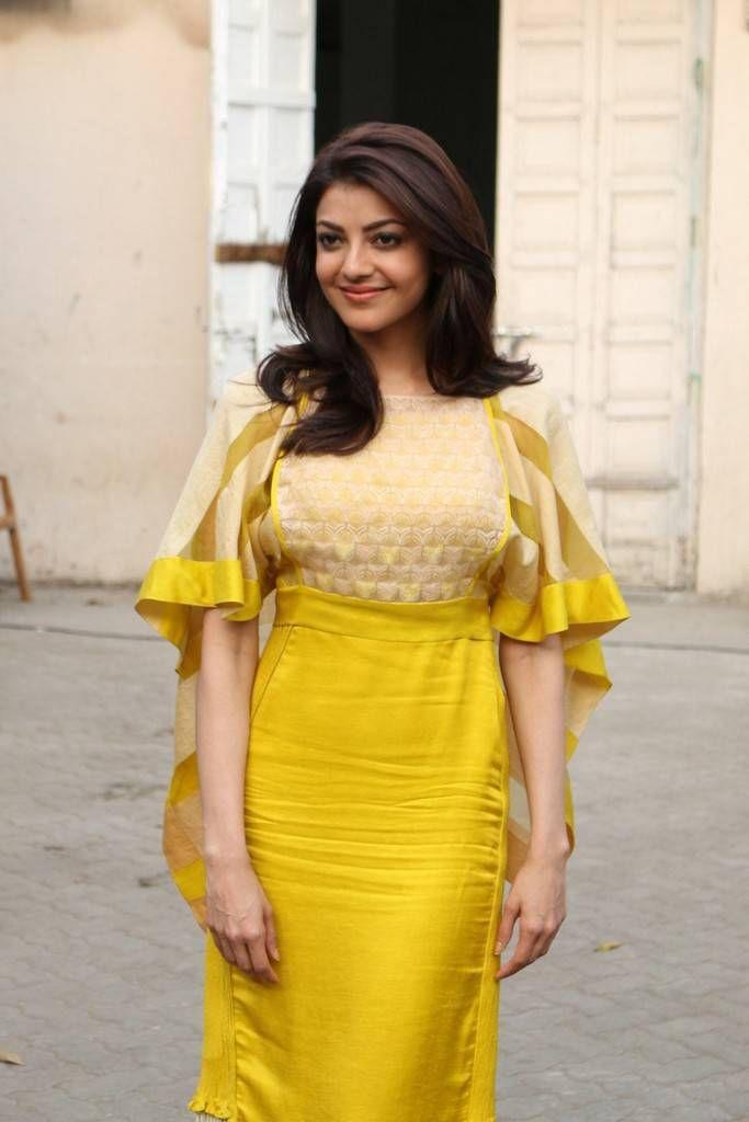 Kajal Aggarwal Latest Hot Glamourous Yellow Skirt PhotoShoot Images At Kajal Aggarwal Mobile App Launch ★ Desipixer  ★