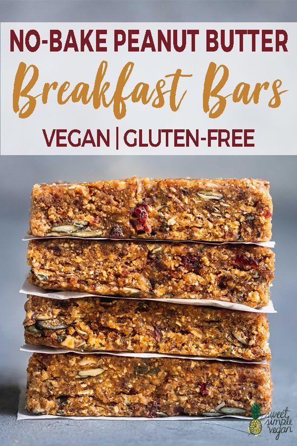 No Bake Peanut Butter Breakfast Bars Vegan Gluten Free Sweet Simple Vegan Recipe Peanut Butter Breakfast Bar Peanut Butter Breakfast Gluten Free Sweet