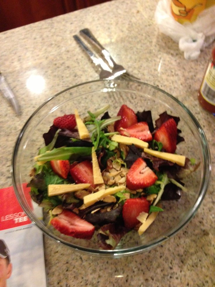 Favourite salad - sliced almonds, strawberries, beemster cheese slices, mixed greens - great summer salad ( especially in the winter )