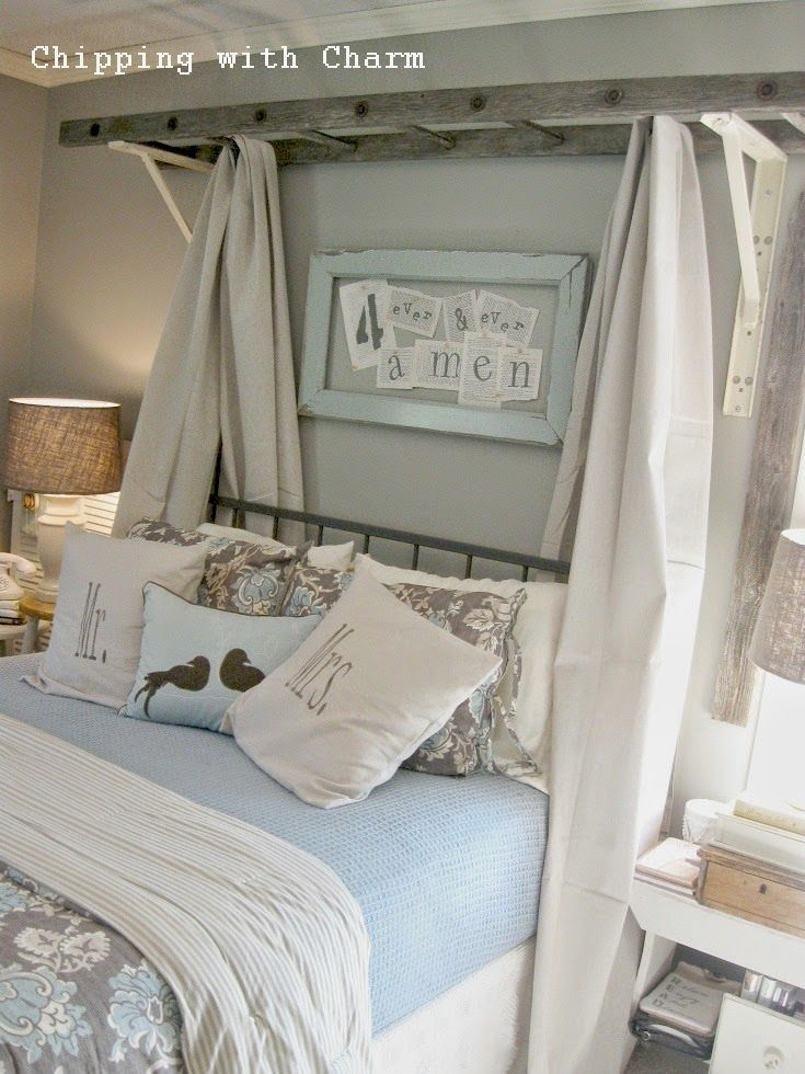 Chipping with Charm: ladder bed canopy...http://www.chippingwithcharm.blogspot.com/ - This is brilliant!