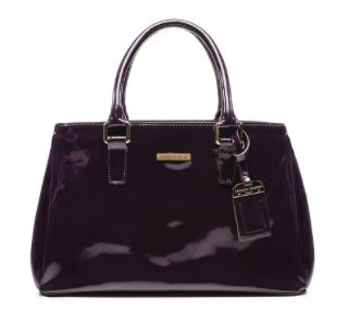Jessica Jensen BLOOR STREET SATCHEL in EGGPLANT PATENT  $398.00  PREMIUM ITALIAN PATENT LEATHER POLISHED GOLD HARDWARE  CENTER ZIPPER DIVIDER WITH TWO LARGE OPEN COMPARTMENTS  INTERIOR ZIPPER POCKET AND TWO MEDIA POCKETS LINEN LINING AND DUSTBAG
