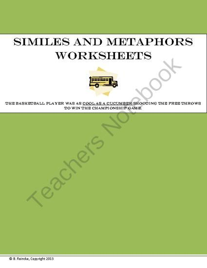 similes and metaphors worksheets from reincke15 on 11 pages these 10. Black Bedroom Furniture Sets. Home Design Ideas