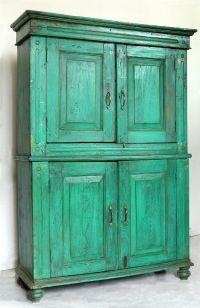 Credenza dipinta, quattro ante, India. Inizi del '900, legno teak. Misure: 124 x 45 h 180 cm