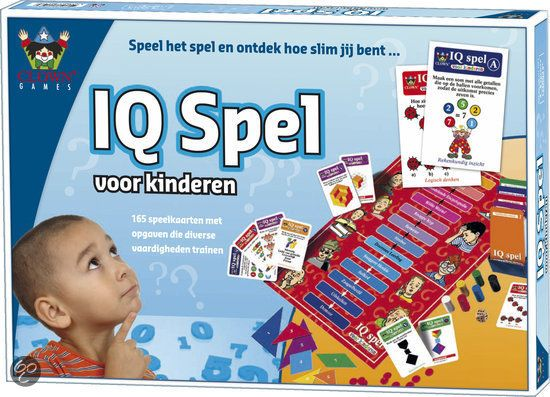 IQ spel - Een leerzaam spel om verschillende vaardigheden te trainen: Visueel inzicht, rekenkundig inzicht, logisch denken (vraagstukken), taalkundig inzicht en ruimtelijk inzicht.  Door vragen goed te beantwoorden, ga je steeds een stapje omhoog op de ladder. Is een antwoord fout, dan zak je een tree op de ladder.  Inhoud: spelbord, 165 speelKaarten, 6 pionnen, 1 dobbelsteen, 1 kaartsorteerbox, IQ-fiches, legpuzzel, schrijfblok, spelregels  Voor 2-6 spelers vanaf 6 jaar