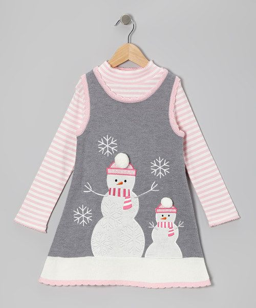 This sweet little set is what every girl dreams of, and then some. The playful snowman scene on the sweater-knit jumper sets the stage for a great day, while the cozy top brings the whole special ensemble together.Size note:Infant sizes include bodysuit in place of top.Includes top and jumper