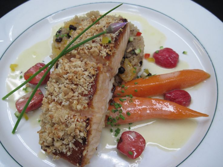 Maple and Cashew Crusted Atlantic Salmon - Dried Fruit and Berry Quinoa, Sweet n' Sour Radish and Buttered Baby Carrots #Yum #Foodporn #Chefslife #gourmet #pinsperation