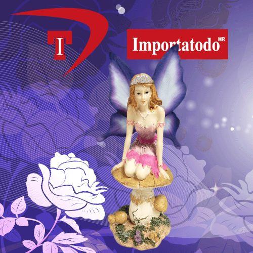 Figura Decorativa Hada sobre Hongo elaborada en Poliresina marca TRENTINO. Modelo 45-626