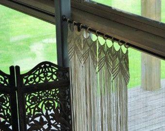 Custom Kitchen Macrame Curtains Fiber art Bohemian by KnotSquared