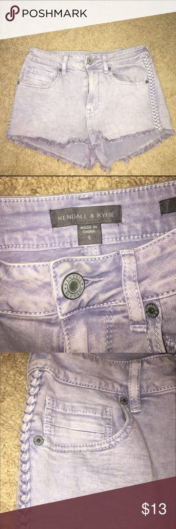 Light purple jean shorts Kendall & Kylie lavender jean shorts with braids up both sides Kendall & Kylie Shorts