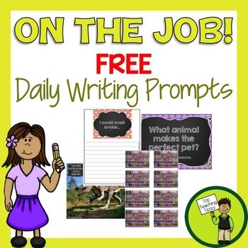 This Freebie includes five daily writing prompts in three formats: PowerPoint presentation, writing prompt journal and printable worksheets. With this free resource you will receive it in three different formats: - An 'On The Job' Writing Prompts PowerPoint presentation (5 prompts) - An 'On the Job' Writing Prompt journal (5 prompts) - A printable worksheet with multiple copies of each prompt, saving $$ on photocopying (5 prompts). Please note: