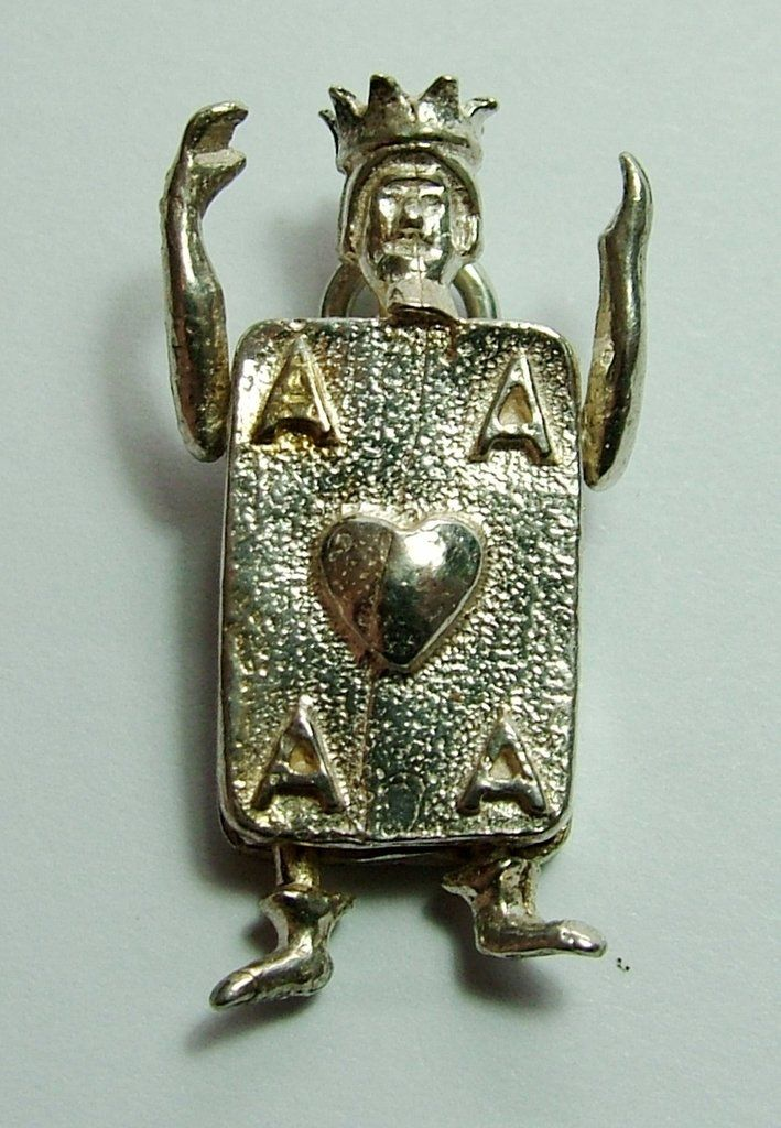 Large 1970's Silver King of Hearts Playing Card Charm with Moving Arms & Legs Silver Charm - Sandy's Vintage Charms