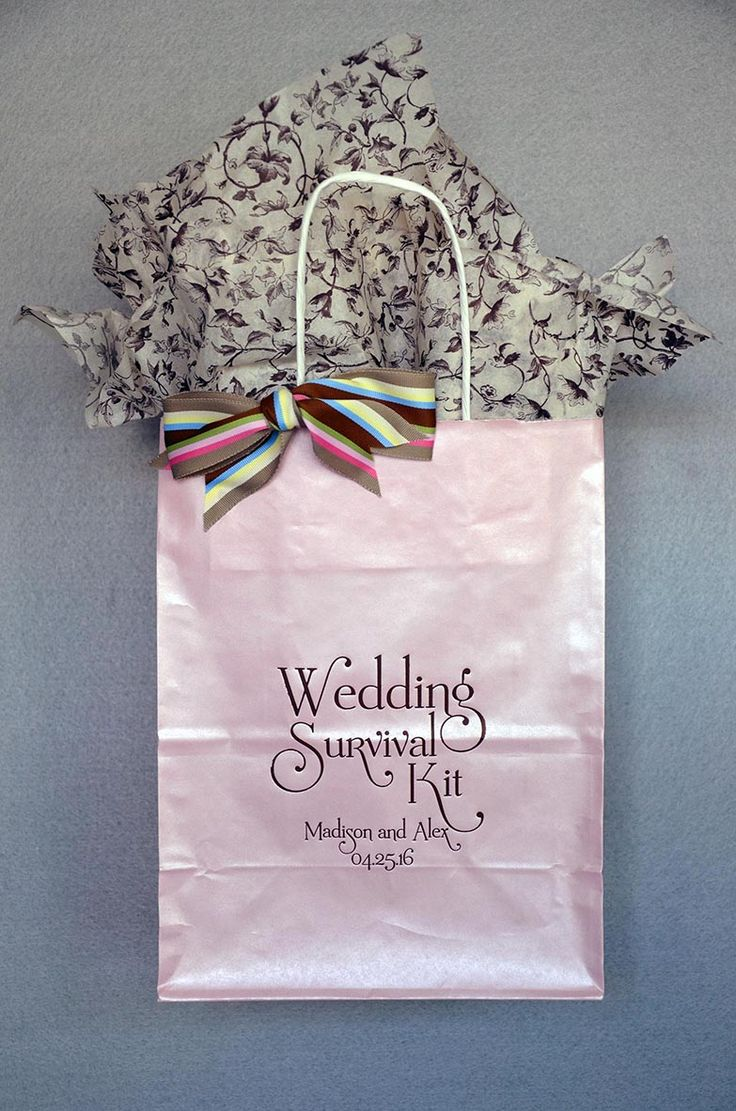 """Weddings can be stressful for everyone and anyone involved. Greet your guests with a welcoming sense of humor and a """"Wedding Survival Kit"""" to refreshen and delight. Our bags are sturdy and come in 23 bag colors with 31 ink color options. Fill with local treats, 2 bottles of water, fresh fruit, something salty and something sweet. Available only at www.FavorsYoukeep.com. This family owned and operated business has been helping brides since 1987! #weddingwelcomebag"""