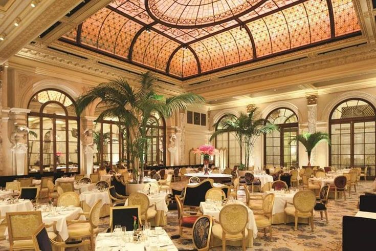 the Plaza Hotel in New York City; A New York City Institution The Palm Court; One of the most famous places in the city, hosting a daily afternoon tea that's always well attended.